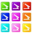 office paper hole puncher icons 9 set vector image vector image