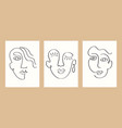 one line drawing faces set vector image