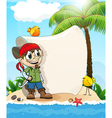 Pirate on a desert island vector image vector image