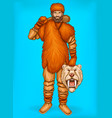 pop art caveman with prey hunting concept vector image vector image