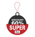 price tag discount 60 super sale image vector image vector image
