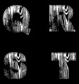q r s t letters white on a black background wood vector image
