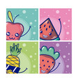 set of cute fruits vector image