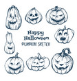 set of halloween pumpkins with evil scary smile vector image vector image