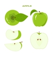 Set of juicy green apple isolated on a white vector image vector image