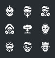 set of post-apocalypse characters icons vector image vector image