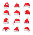 set of red santa claus caps vector image vector image