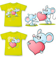 shirt with cute mouses in love cartoon - vector image vector image