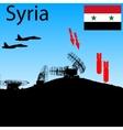 Silhouette military radar dish vector image vector image