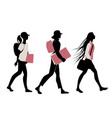 silhouette of teenage girls going to school on vector image