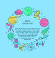 space theme round concept banner in line style vector image vector image