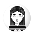 sphere half body woman pulling a kiss vector image vector image