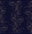 spring flowers fabric seamless pattern on dark vector image vector image