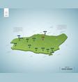 stylized map saudi arabia isometric 3d green vector image