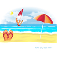 Summer beach with slippers and umbrella vector image