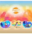 summer love time banner with photos of couple vector image vector image