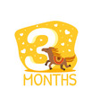 third month birthday anniversary number and cute vector image vector image