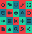 user icons set with wait feed hand note elements vector image