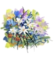 Watercolor and ink of blossoming vector image vector image