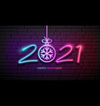 2021 neon light number happy new year vector image vector image