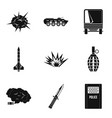 act of war icons set simple style vector image vector image