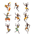 african people dancing folk or ritual dance set vector image