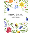 botanical card with spring flowers vector image vector image
