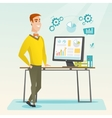Businessman making presentation on computer vector image vector image