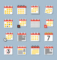 calendar icon flat design in various type vector image