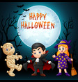 cartoon kids with halloween vector image vector image