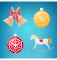 Christmas Icons on Blue Background vector image vector image