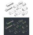 city transport isometric set vector image vector image