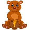 Cute bear cartoon with honey vector image vector image