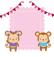 cute couple monkey animals greeting card vector image vector image