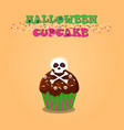 cute happy halloween cupcake with skull and cross vector image vector image