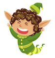 elf or santa helper jumping isolated character vector image vector image