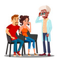 family psychologist talking to middle aged couple vector image