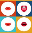 flat icon lips set of teeth tongue lips and vector image vector image
