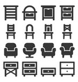 furniture icons set on white background vector image