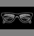 glasses hand drawn sketch on black background vector image