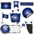 glossy icons with flag buffalo ny vector image vector image