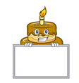 grinning with board birthday cake character vector image vector image