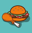 hamburger and chicken thigh food icon vector image vector image