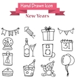Hand draw of New Year icons vector image vector image