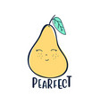 hand drawing pretty pear vector image
