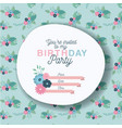 happy birthday party invitation with floral vector image