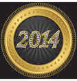 Happy new 2014 year golden label with diamonds vector image
