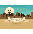 Happy Passover greeting card design with Jerusalem vector image vector image