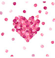 heart of pink rose petals vector image vector image