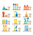 hygiene and cleaning products flat icons Cleaner vector image